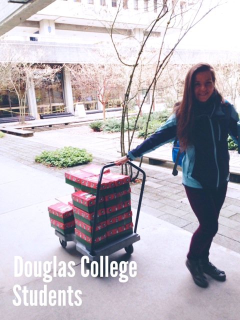Douglas College Financial Aid gives Christmas Hampers to many students in need with children. The hamper includes a gift for each child in the student's family and gifts certificate to Superstore. This year, the Point Church gifted 12 children through Douglas College.
